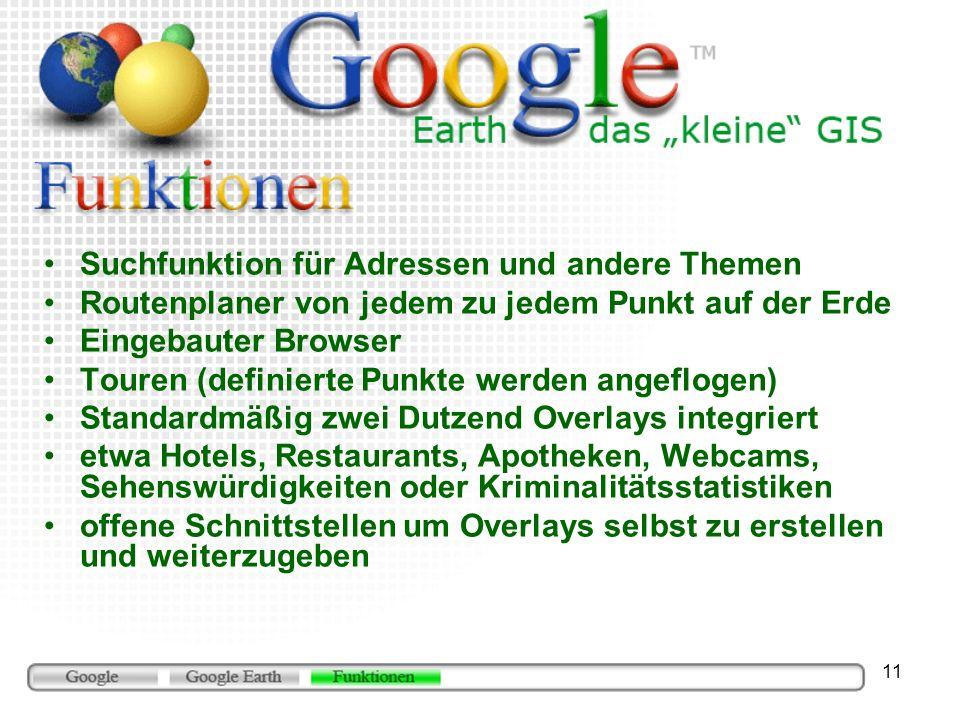11 Suchfunktion für Adressen und andere Themen Routenplaner von jedem zu jedem Punkt auf der Erde Eingebauter Browser Touren (definierte Punkte werden