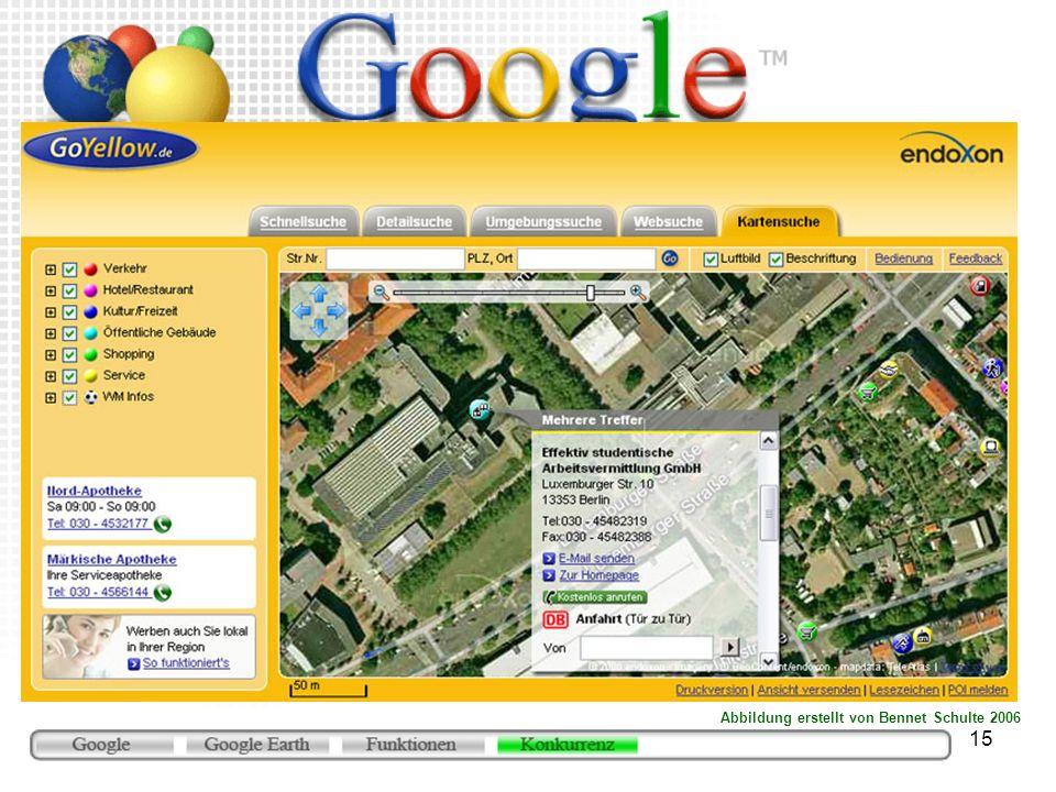 15 GoYellow (www.goyellow.de/map) Browserbasierter Dienst Telefon-Auskunft-Anbieter Seit Mitte Februar mit Aufnahmen in sehr guter Qualität übte Druck