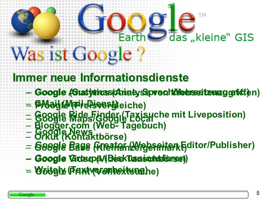5 Immer neue Informationsdienste –Google (Suchmaschine, Sprachübersetzung etc.) –Froogle (Preisvergleiche) –Google Maps/Google Local –Google News –Google Page Creator (Webseiten Editor/Publisher) –Google Groups (Diskussionsforen) –Google Print (Volltextsuche) –Google Analytics (Analyse von Webseitenzugriffen) –GMail (Mail-Dienst) –Google Ride Finder (Taxisuche mit Liveposition) –Blogger.com (Web- Tagebuch) –Orkut (Kontaktbörse) –Google Base (Kleinanzeigenmarkt) –Google Video (Video Tauschbörse) –Writely (Textverarbeitung)