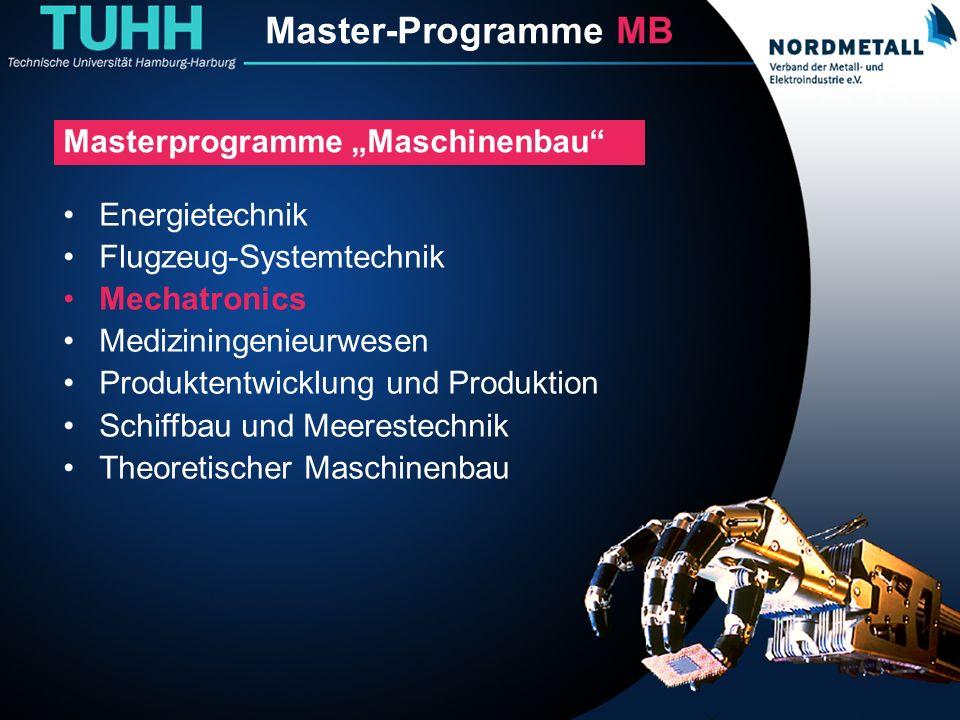 Master: Maschinenbau/Mechatronik (1) Master-Programme MB Energietechnik Flugzeug-Systemtechnik Mechatronics Mediziningenieurwesen Produktentwicklung u