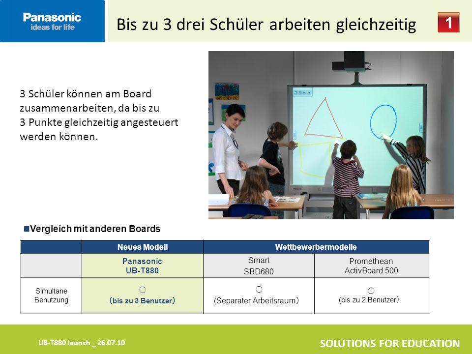 UB-T880 launch _ 26.07.10 SOLUTIONS FOR EDUCATION Bis zu 3 drei Schüler arbeiten gleichzeitig 3 Schüler können am Board zusammenarbeiten, da bis zu 3 Punkte gleichzeitig angesteuert werden können.