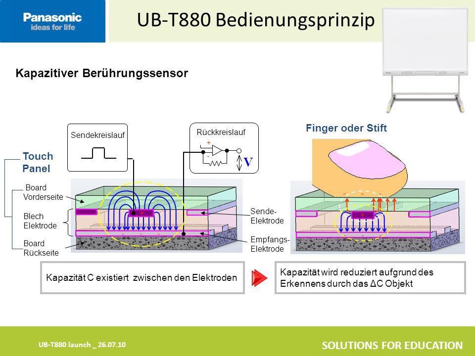 UB-T880 launch _ 26.07.10 SOLUTIONS FOR EDUCATION Kapazitiver Berührungssensor UB-T880 Bedienungsprinzip Kapazität C existiert zwischen den Elektroden V Empfangs- Elektrode Sende- Elektrode Sendekreislauf Rückkreislauf Blech Elektrode Board Rückseite Board Vorderseite Finger oder Stift Touch Panel Kapazität wird reduziert aufgrund des Erkennens durch das ΔC Objekt