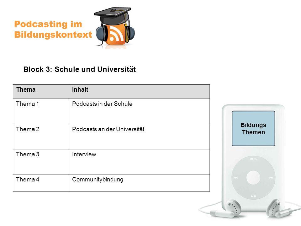Bildungs Themen ThemaInhalt Thema 1Podcasts in der Schule Thema 2Podcasts an der Universität Thema 3Interview Thema 4Communitybindung Block 3: Schule