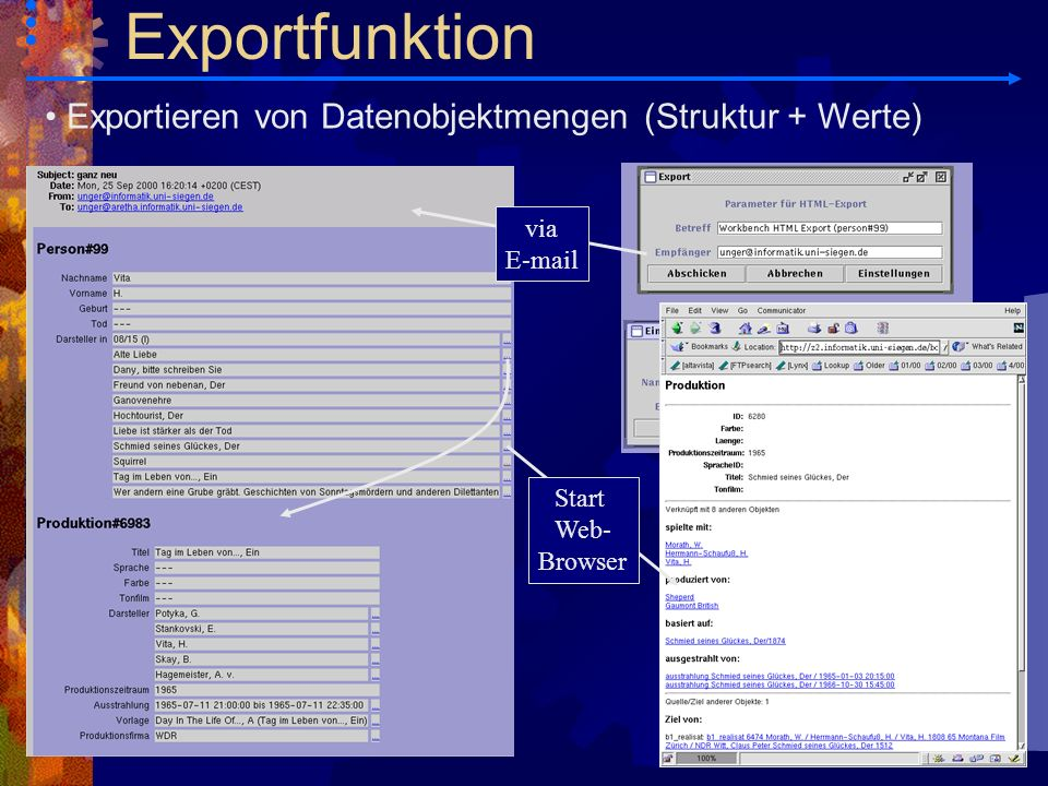 Exportieren von Datenobjektmengen (Struktur + Werte) via E-mail Start Web- Browser Exportfunktion
