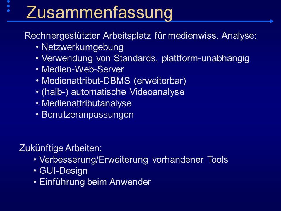 Rechnergestützter Arbeitsplatz für medienwiss. Analyse: Netzwerkumgebung Verwendung von Standards, plattform-unabhängig Medien-Web-Server Medienattrib
