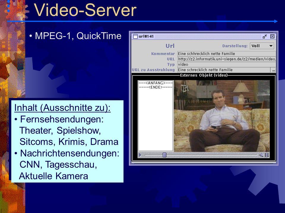 MPEG-1, QuickTime Inhalt (Ausschnitte zu): Fernsehsendungen: Theater, Spielshow, Sitcoms, Krimis, Drama Nachrichtensendungen: CNN, Tagesschau, Aktuell