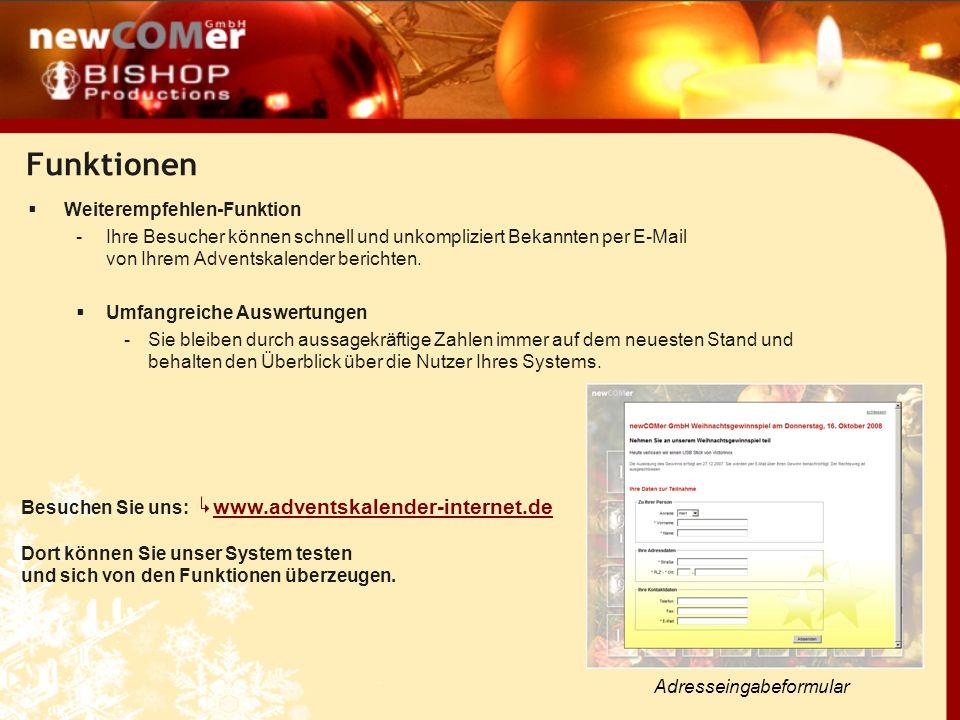 Funktionen Personalisierte Weihnachtsvideos Von Bishop Productions GmbH komplett realisiert Die in den Adventskalender einfügbaren Videos können mit einem personalisierten Abspann versehen werden.