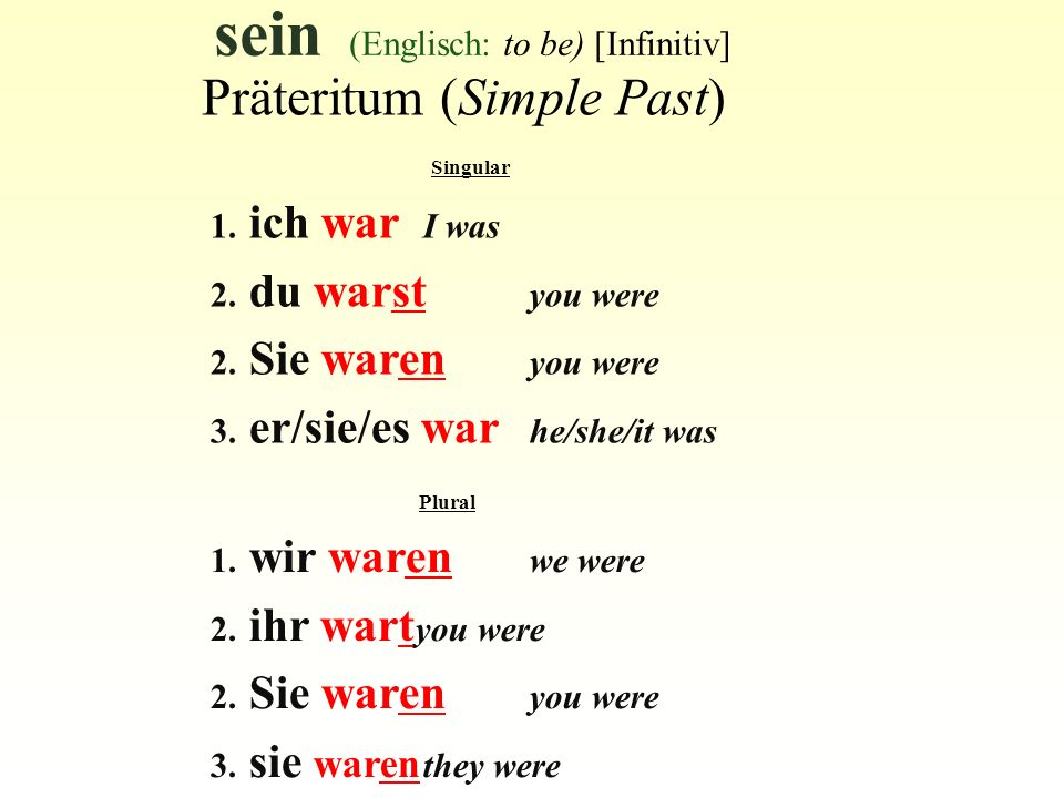 sein (Englisch: to be) [Infinitiv] Singular 1. ich war I was 2. du warst you were 2. Sie waren you were 3. er/sie/es war he/she/it was Präteritum (Sim