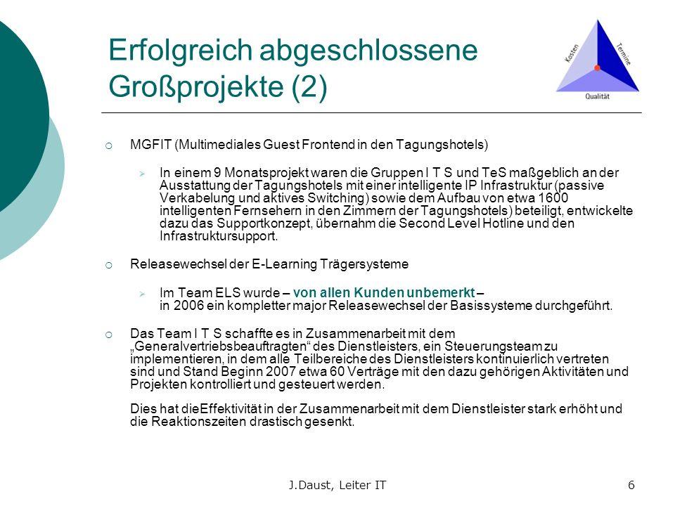 J.Daust, Leiter IT6 Erfolgreich abgeschlossene Großprojekte (2) MGFIT (Multimediales Guest Frontend in den Tagungshotels) In einem 9 Monatsprojekt war