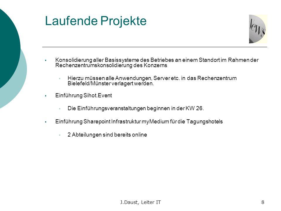 J.Daust, Leiter IT8 Laufende Projekte Konsolidierung aller Basissysteme des Betriebes an einem Standort im Rahmen der Rechenzentrumskonsolidierung des