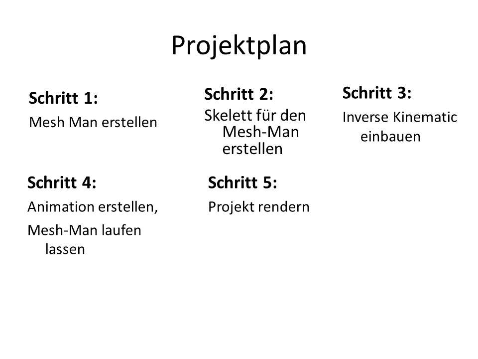 Projektplan Schritt 1: Mesh Man erstellen Schritt 2: Skelett für den Mesh-Man erstellen Schritt 3: Inverse Kinematic einbauen Schritt 4: Animation erstellen, Mesh-Man laufen lassen Schritt 5: Projekt rendern