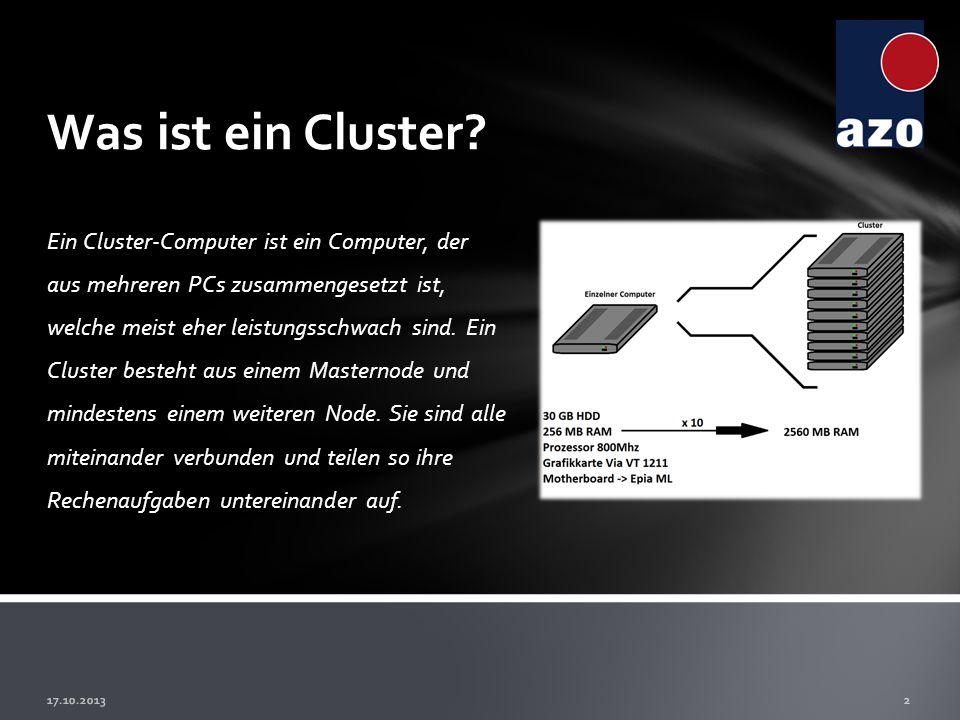 Ein Cluster-Computer ist ein Computer, der aus mehreren PCs zusammengesetzt ist, welche meist eher leistungsschwach sind. Ein Cluster besteht aus eine