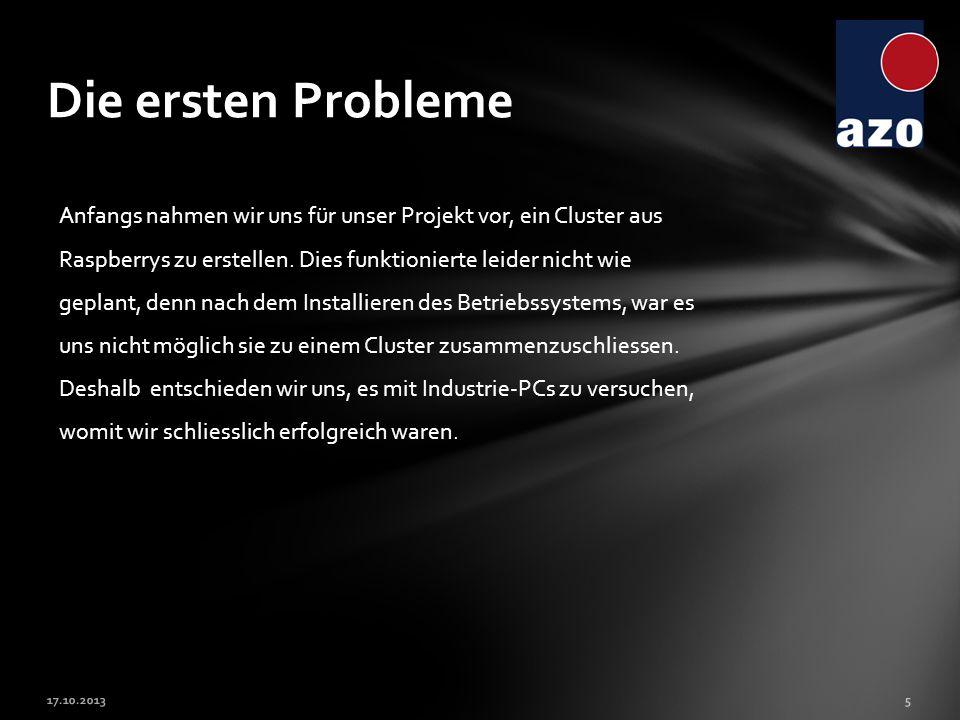 5 Die ersten Probleme Anfangs nahmen wir uns für unser Projekt vor, ein Cluster aus Raspberrys zu erstellen. Dies funktionierte leider nicht wie gepla
