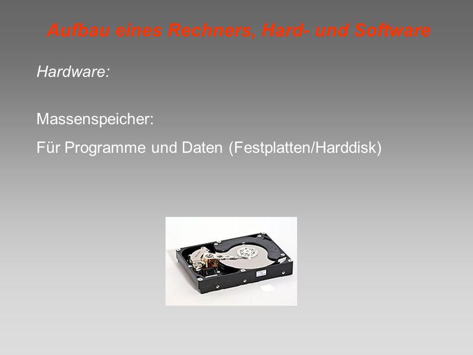 Aufbau eines Rechners, Hard- und Software Hardware: Massenspeicher: Für Programme und Daten (Festplatten/Harddisk)