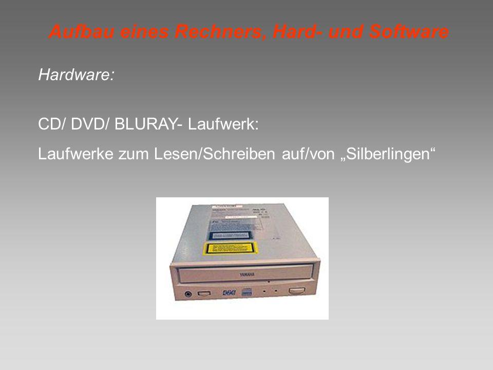 Aufbau eines Rechners, Hard- und Software Hardware: CD/ DVD/ BLURAY- Laufwerk: Laufwerke zum Lesen/Schreiben auf/von Silberlingen