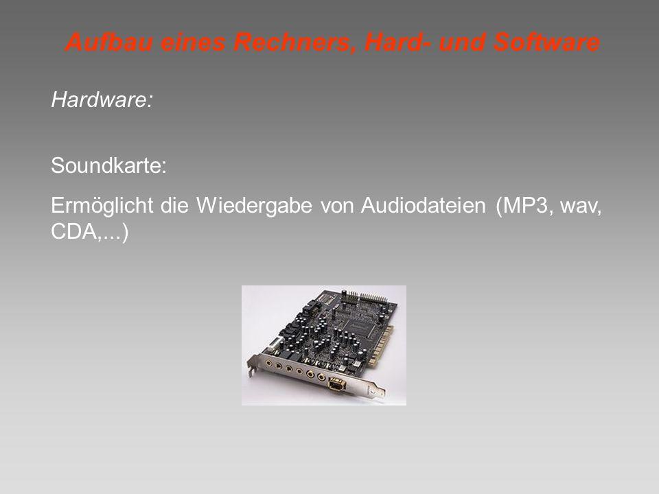 Aufbau eines Rechners, Hard- und Software Hardware: Soundkarte: Ermöglicht die Wiedergabe von Audiodateien (MP3, wav, CDA,...)