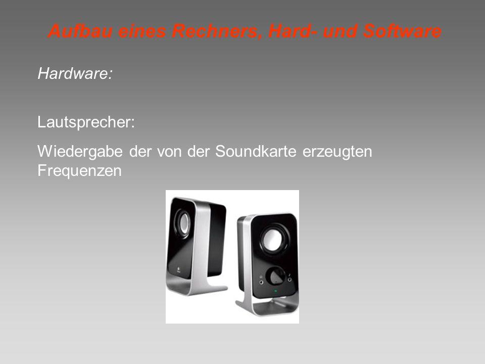 Aufbau eines Rechners, Hard- und Software Hardware: Lautsprecher: Wiedergabe der von der Soundkarte erzeugten Frequenzen