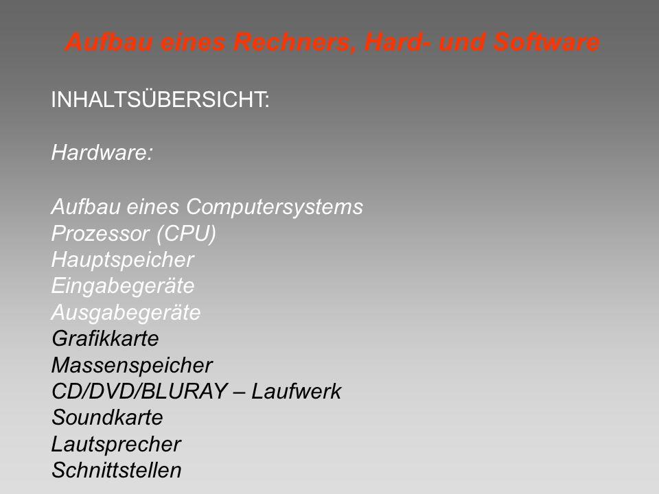 INHALTSÜBERSICHT: Hardware: Aufbau eines Computersystems Prozessor (CPU) Hauptspeicher Eingabegeräte Ausgabegeräte Grafikkarte Massenspeicher CD/DVD/B