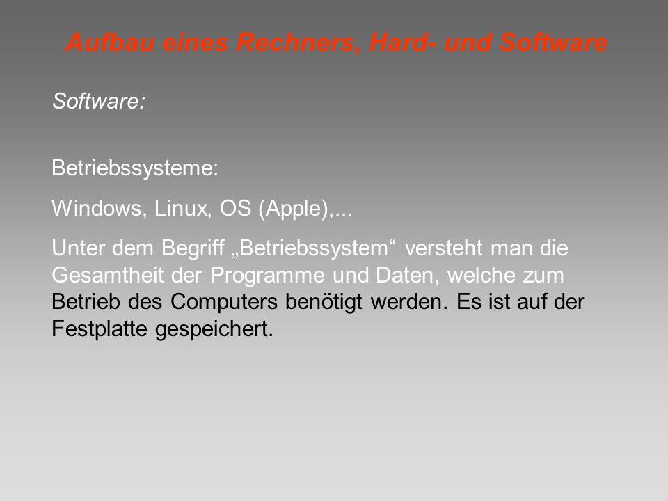 Aufbau eines Rechners, Hard- und Software Software: Betriebssysteme: Windows, Linux, OS (Apple),... Unter dem Begriff Betriebssystem versteht man die