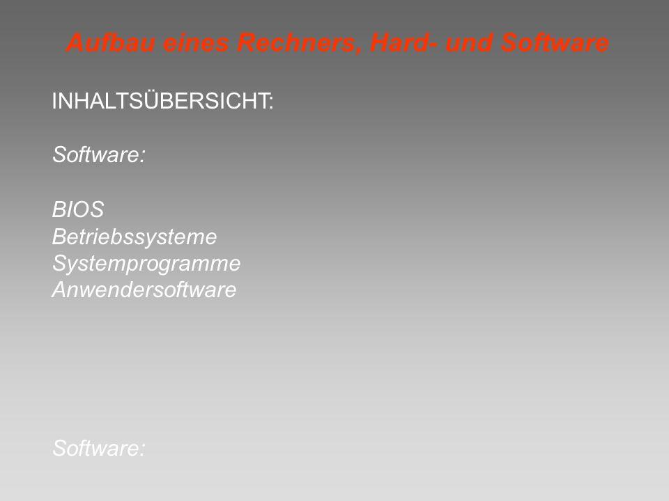 Aufbau eines Rechners, Hard- und Software INHALTSÜBERSICHT: Software: BIOS Betriebssysteme Systemprogramme Anwendersoftware Software: