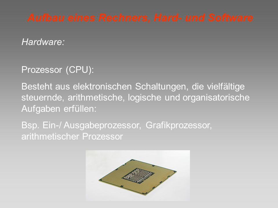 Aufbau eines Rechners, Hard- und Software Hardware: Prozessor (CPU): Besteht aus elektronischen Schaltungen, die vielfältige steuernde, arithmetische,