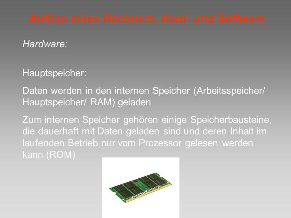 Aufbau eines Rechners, Hard- und Software Hardware: Hauptspeicher: Daten werden in den internen Speicher (Arbeitsspeicher/ Hauptspeicher/ RAM) geladen