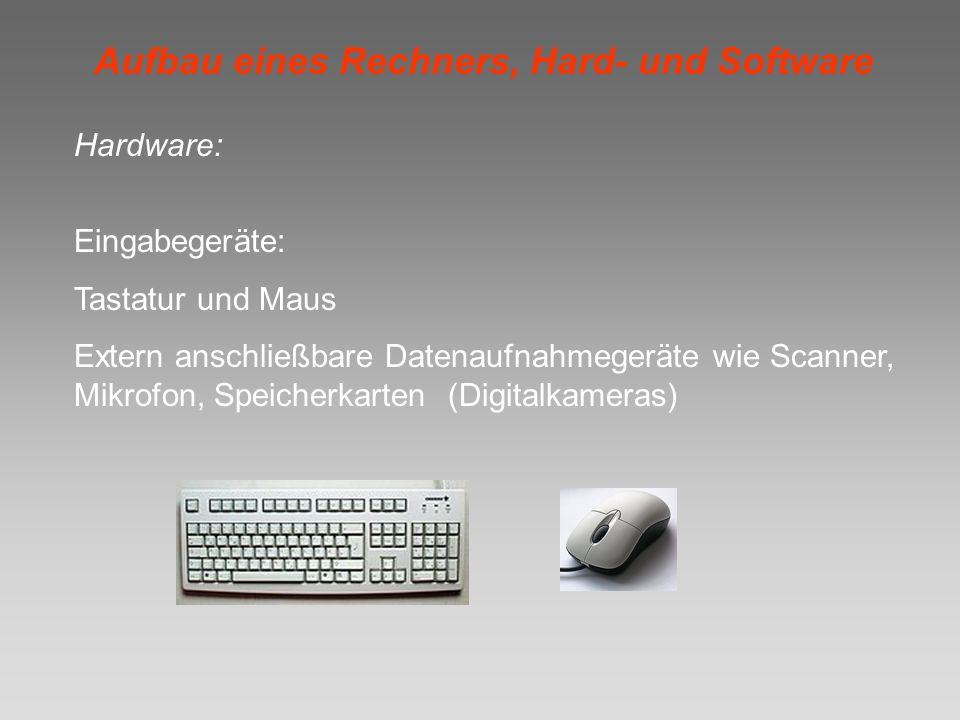 Aufbau eines Rechners, Hard- und Software Hardware: Eingabegeräte: Tastatur und Maus Extern anschließbare Datenaufnahmegeräte wie Scanner, Mikrofon, S