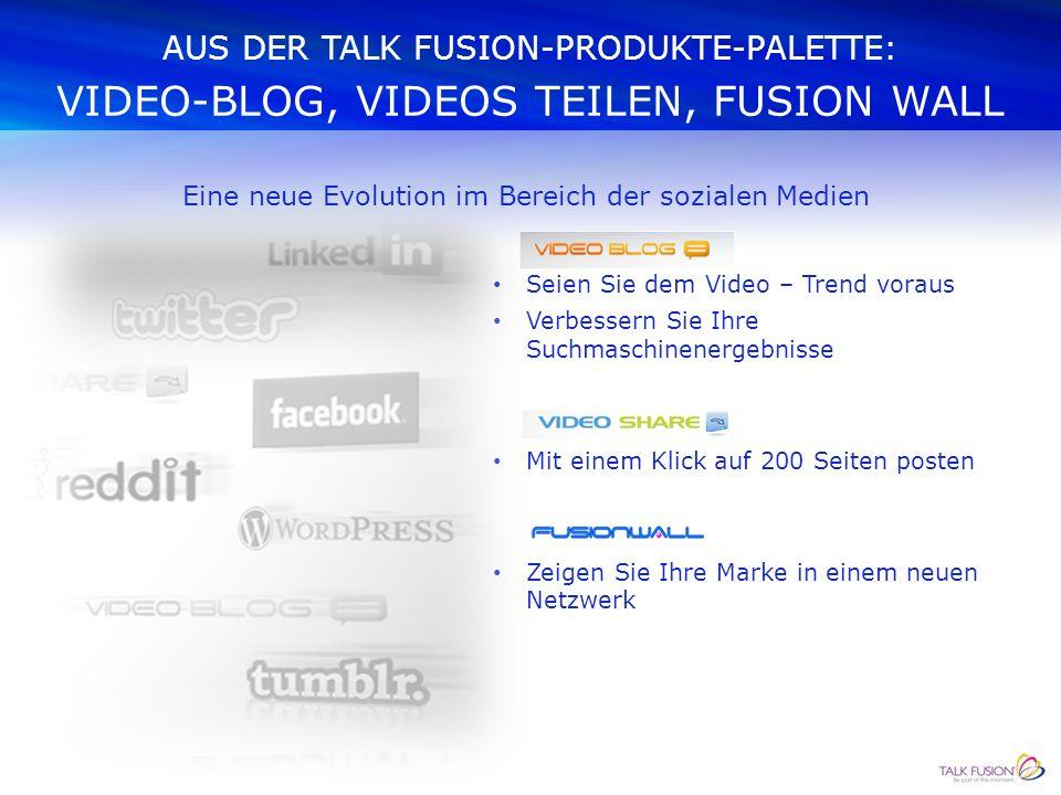 AUS DER TALK FUSION-PRODUKTE-PALETTE: FUSION ON THE GO – MOBILE APPS Erstellen und versenden Sie Talk Fusion Video-Emails oder Newsletter zu jederzeit