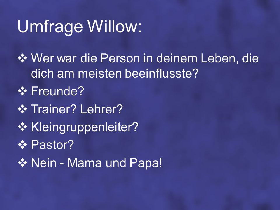 Umfrage Willow: Wer war die Person in deinem Leben, die dich am meisten beeinflusste? Freunde? Trainer? Lehrer? Kleingruppenleiter? Pastor? Nein - Mam