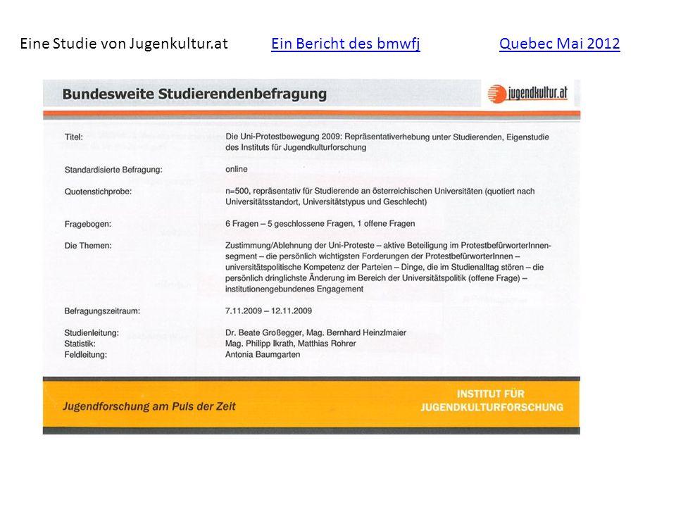 Eine Studie von Jugenkultur.atEin Bericht des bmwfjQuebec Mai 2012