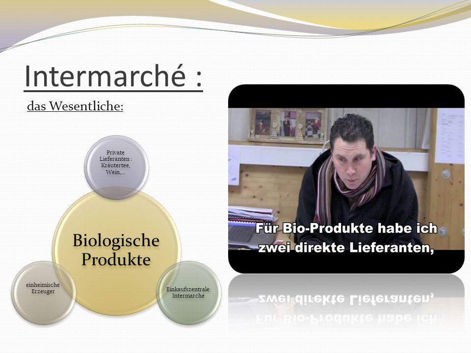 Intermarché : Biologische Produkte Private Lieferanten : Kräutertee, Wein,… Einkaufszentrale: Intermarché einheimische Erzeuger das Wesentliche :