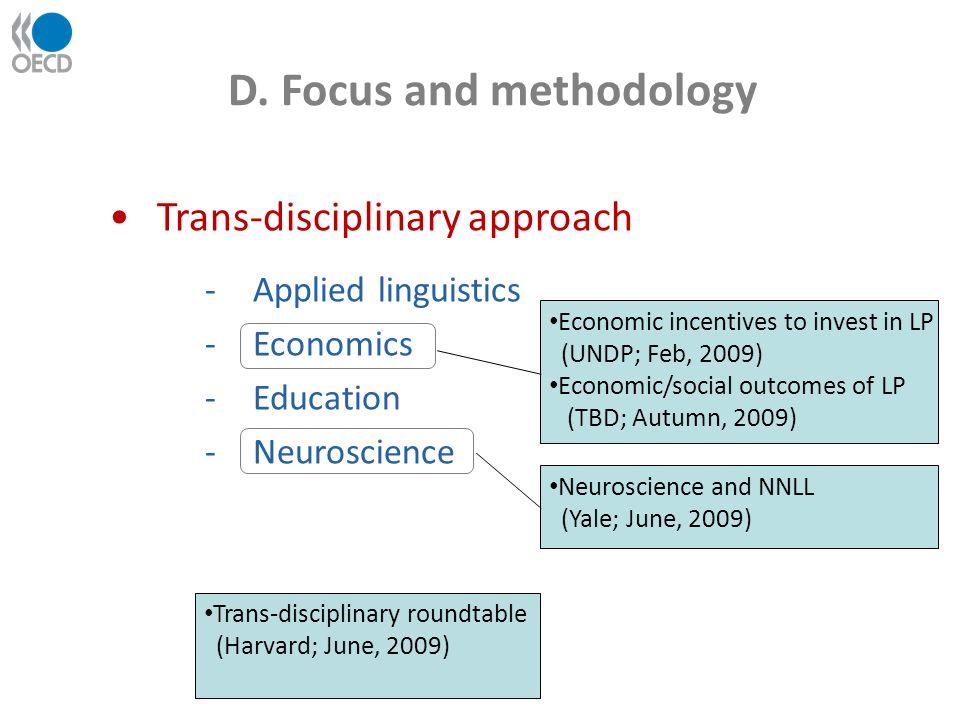 D. Focus and methodology Trans-disciplinary approach -Applied linguistics -Economics -Education -Neuroscience Trans-disciplinary roundtable (Harvard;