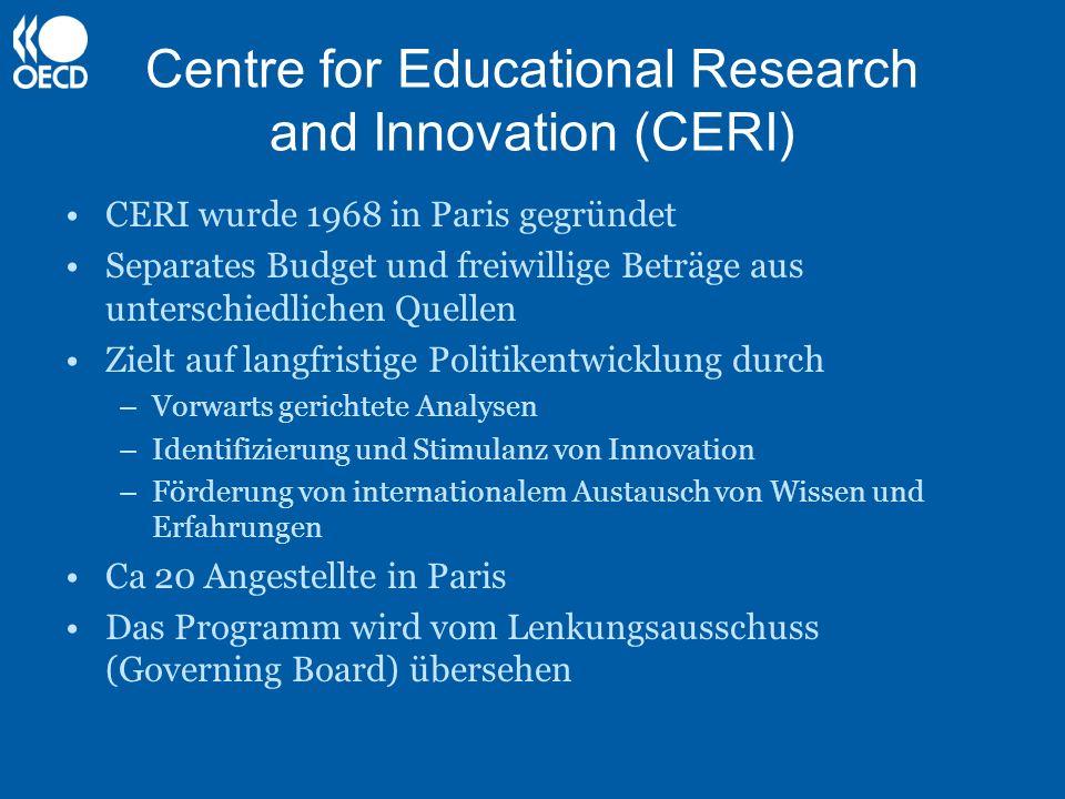 Centre for Educational Research and Innovation (CERI) CERI wurde 1968 in Paris gegründet Separates Budget und freiwillige Beträge aus unterschiedliche