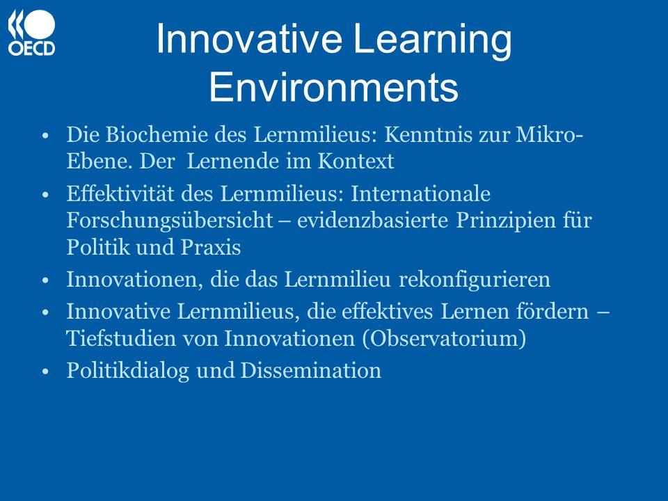 Innovative Learning Environments Analyse: Reviews zum Wissen über Lernen und Implikationen für Politik und Praxis Empirie: Identifizierung, Zusammenstellung and Analyse von konkreten ILEs Politik: Implikationen für Reformen und dauerhafte innovative Praxis