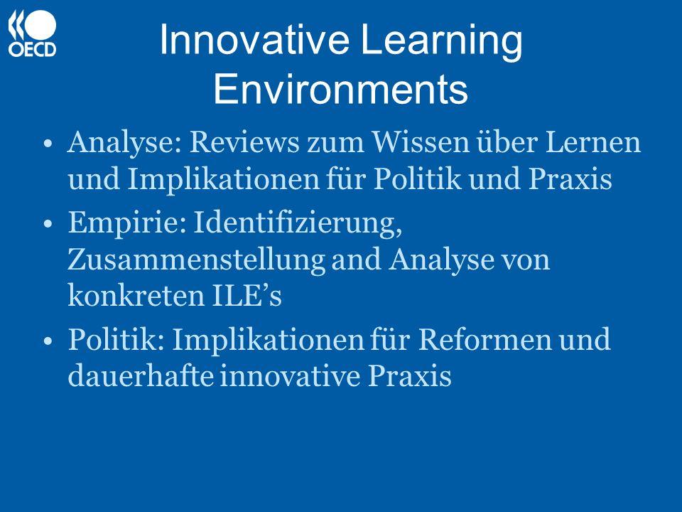 Innovative Learning Environments Analyse: Reviews zum Wissen über Lernen und Implikationen für Politik und Praxis Empirie: Identifizierung, Zusammenst