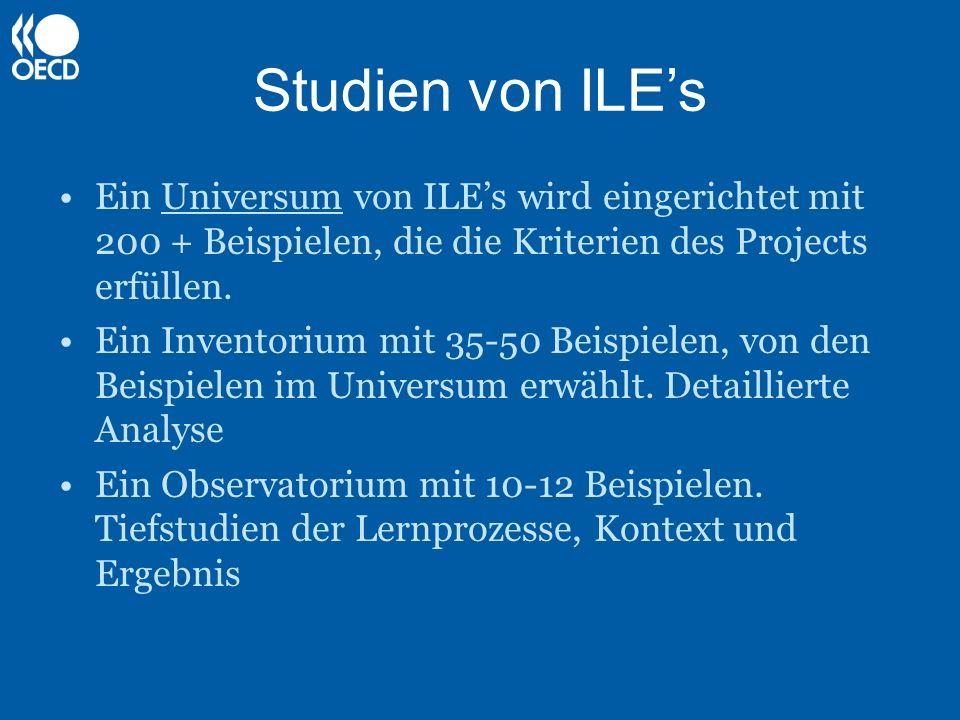 Studien von ILEs Ein Universum von ILEs wird eingerichtet mit 200 + Beispielen, die die Kriterien des Projects erfüllen. Ein Inventorium mit 35-50 Bei