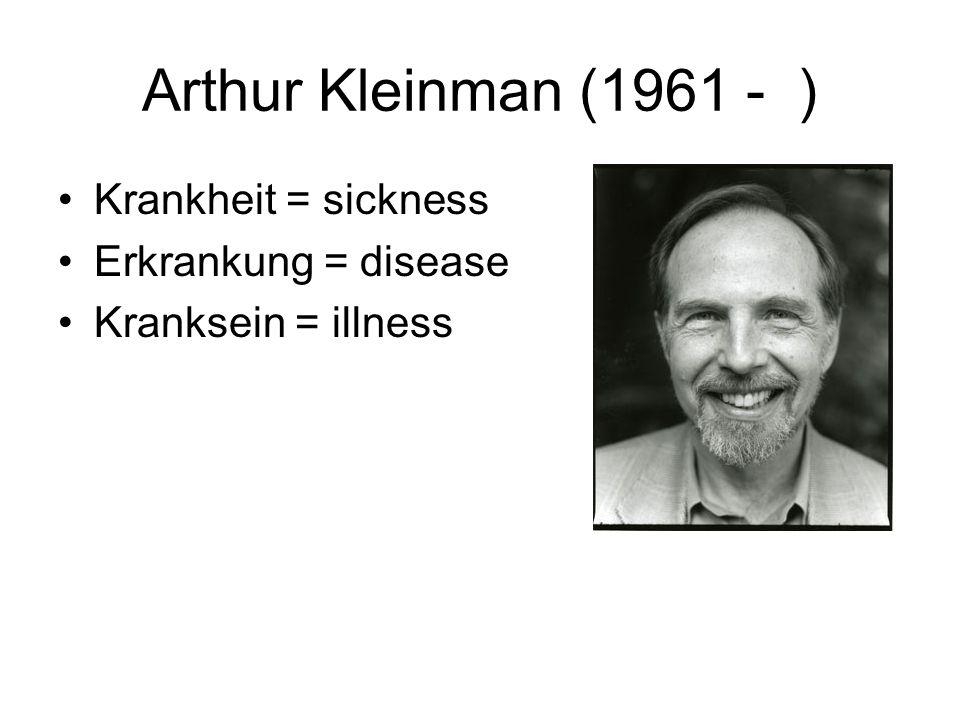 Arthur Kleinman (1961 - ) Krankheit = sickness Erkrankung = disease Kranksein = illness