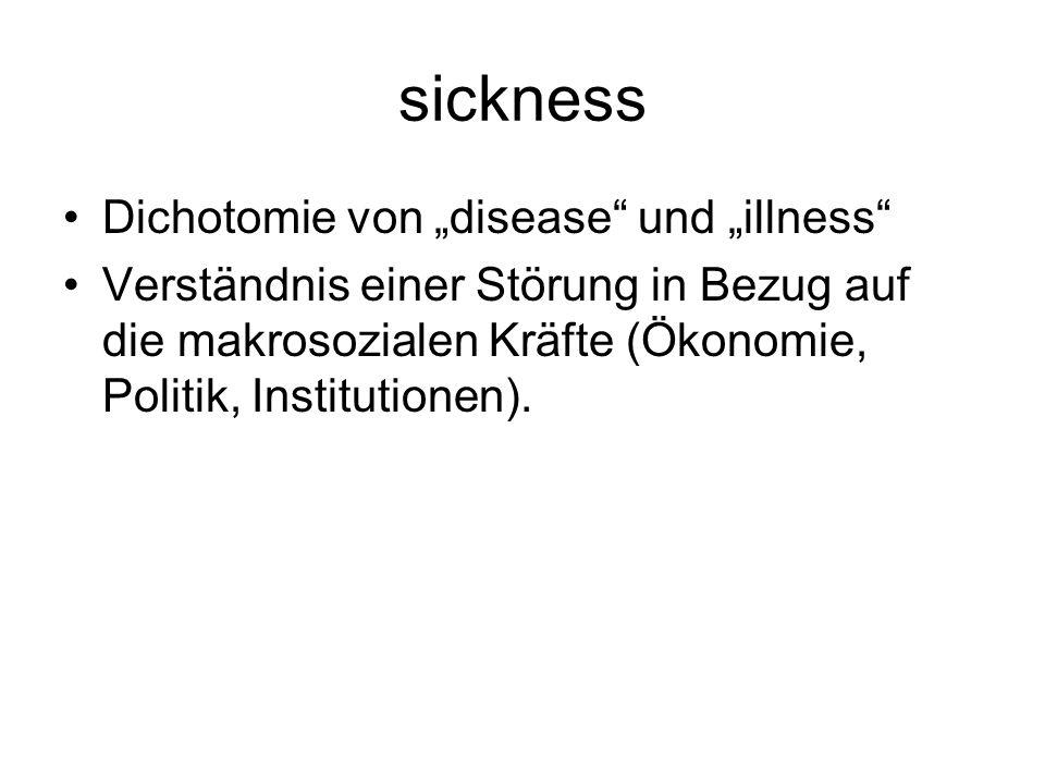 sickness Dichotomie von disease und illness Verständnis einer Störung in Bezug auf die makrosozialen Kräfte (Ökonomie, Politik, Institutionen).