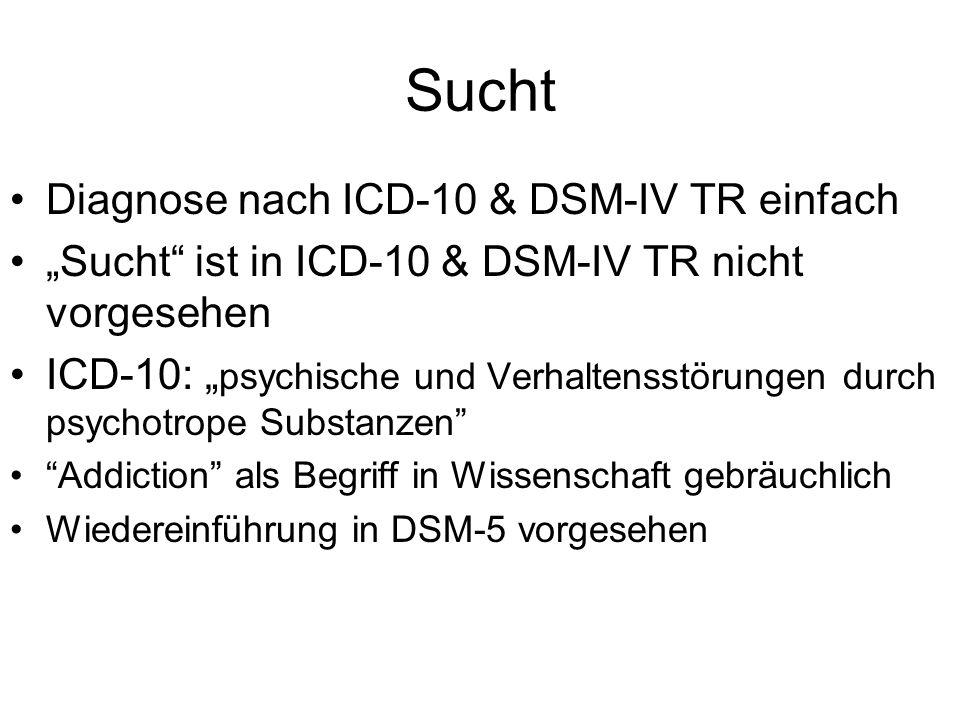 Sucht Diagnose nach ICD-10 & DSM-IV TR einfach Sucht ist in ICD-10 & DSM-IV TR nicht vorgesehen ICD-10: psychische und Verhaltensstörungen durch psych
