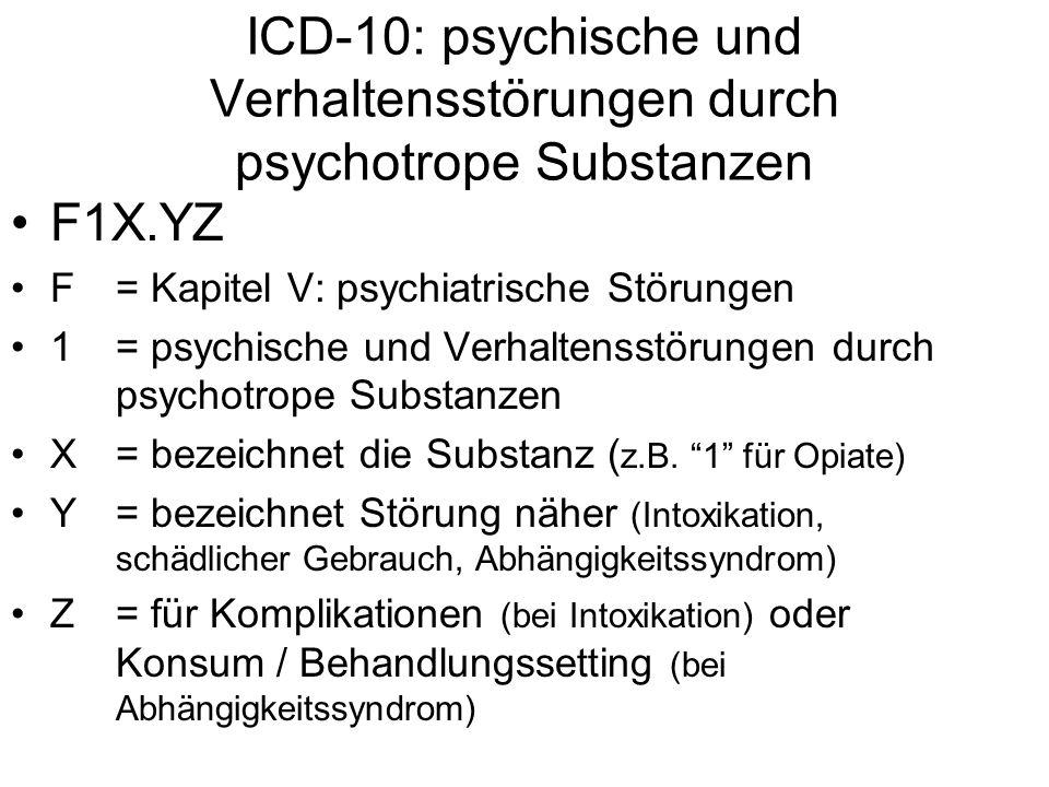 ICD-10: psychische und Verhaltensstörungen durch psychotrope Substanzen F1X.YZ F= Kapitel V: psychiatrische Störungen 1 = psychische und Verhaltensstö