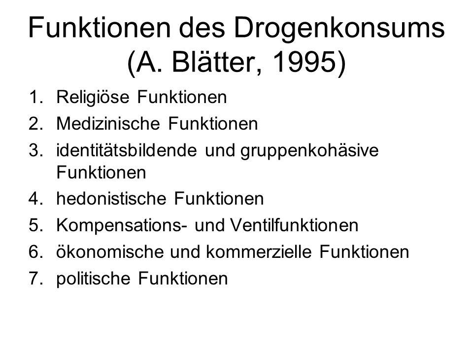 Funktionen des Drogenkonsums (A. Blätter, 1995) 1.Religiöse Funktionen 2.Medizinische Funktionen 3.identitätsbildende und gruppenkohäsive Funktionen 4