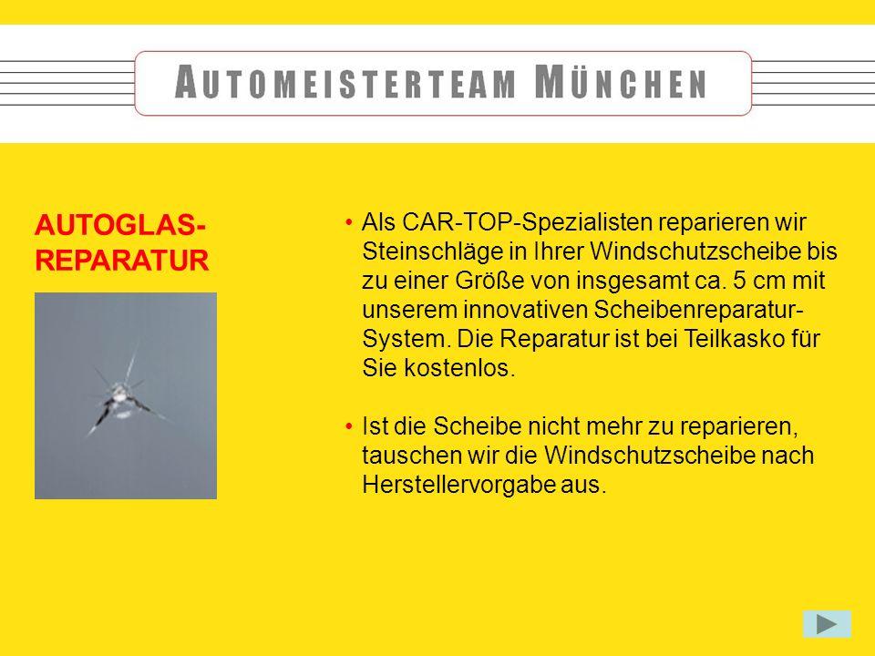 AUTOGLAS- REPARATUR Als CAR-TOP-Spezialisten reparieren wir Steinschläge in Ihrer Windschutzscheibe bis zu einer Größe von insgesamt ca.