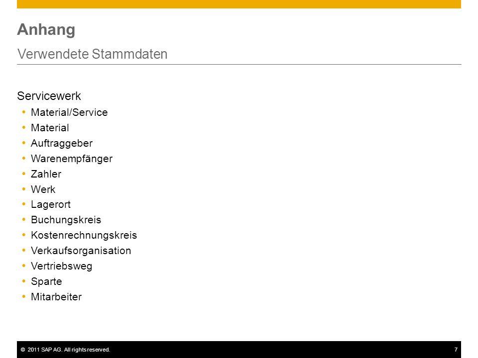 ©2011 SAP AG. All rights reserved.7 Anhang Verwendete Stammdaten Servicewerk Material/Service Material Auftraggeber Warenempfänger Zahler Werk Lageror