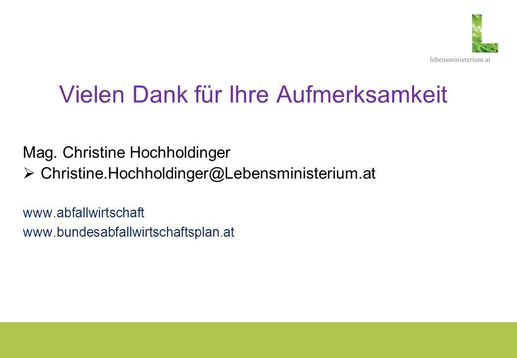 Vielen Dank für Ihre Aufmerksamkeit Mag. Christine Hochholdinger Christine.Hochholdinger@Lebensministerium.at www.abfallwirtschaft www.bundesabfallwir