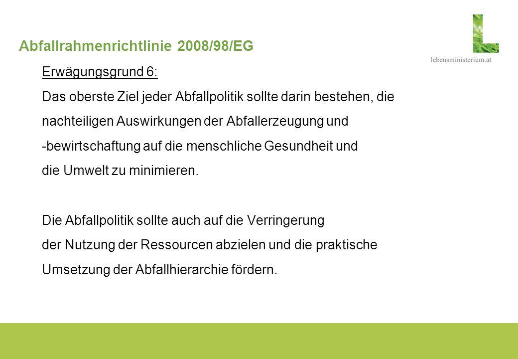 Abfallrahmenrichtlinie 2008/98/EG Erwägungsgrund 7: In seiner Entschließung vom 24.