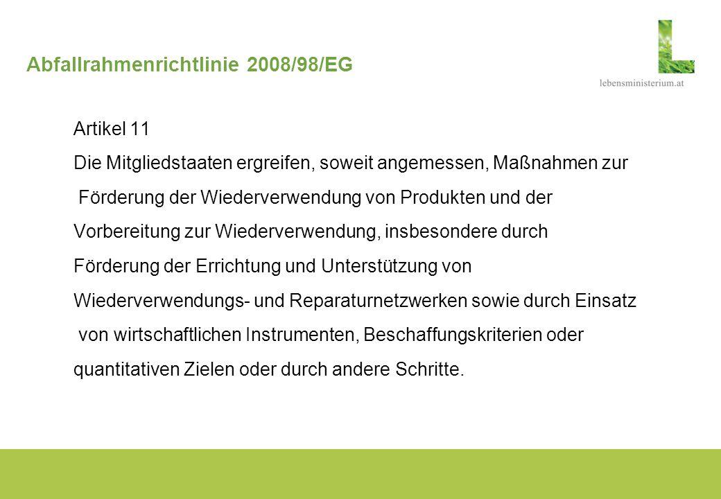 Abfallrahmenrichtlinie 2008/98/EG Artikel 11 Die Mitgliedstaaten ergreifen, soweit angemessen, Maßnahmen zur Förderung der Wiederverwendung von Produk