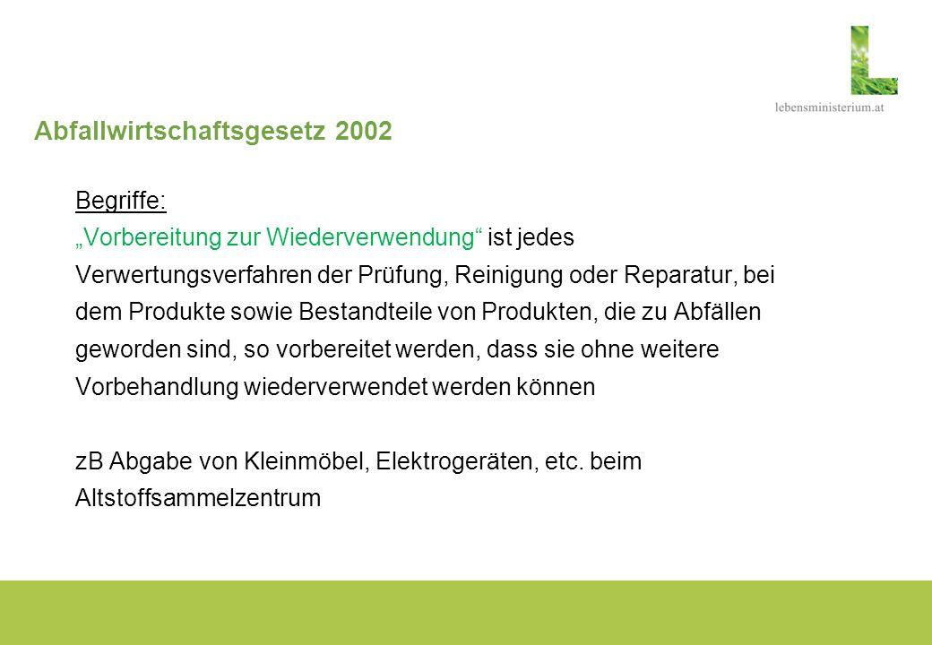 Abfallwirtschaftsgesetz 2002 Begriffe: Vorbereitung zur Wiederverwendung ist jedes Verwertungsverfahren der Prüfung, Reinigung oder Reparatur, bei dem