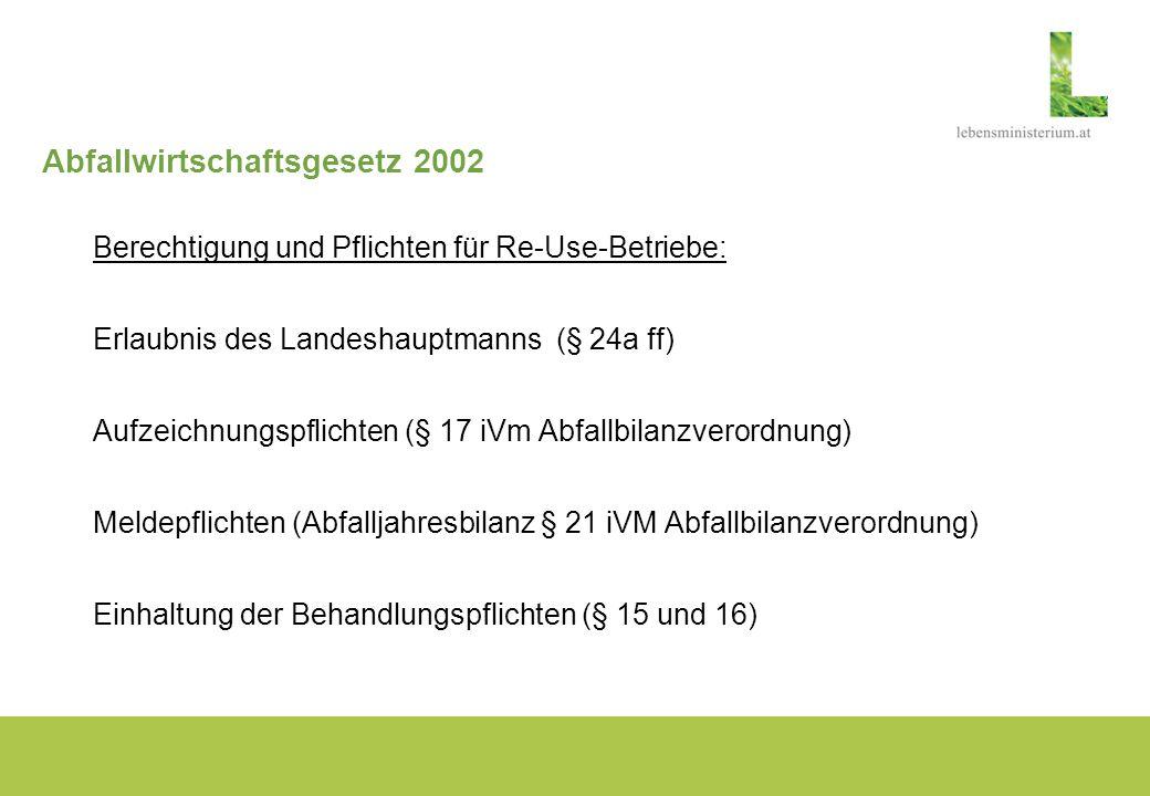 Abfallwirtschaftsgesetz 2002 Berechtigung und Pflichten für Re-Use-Betriebe: Erlaubnis des Landeshauptmanns (§ 24a ff) Aufzeichnungspflichten (§ 17 iV