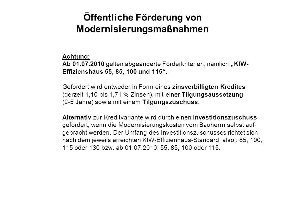 Öffentliche Förderung von Modernisierungsmaßnahmen Achtung: Ab 01.07.2010 gelten abgeänderte Förderkriterien, nämlich KfW- Effizienshaus 55, 85, 100 u