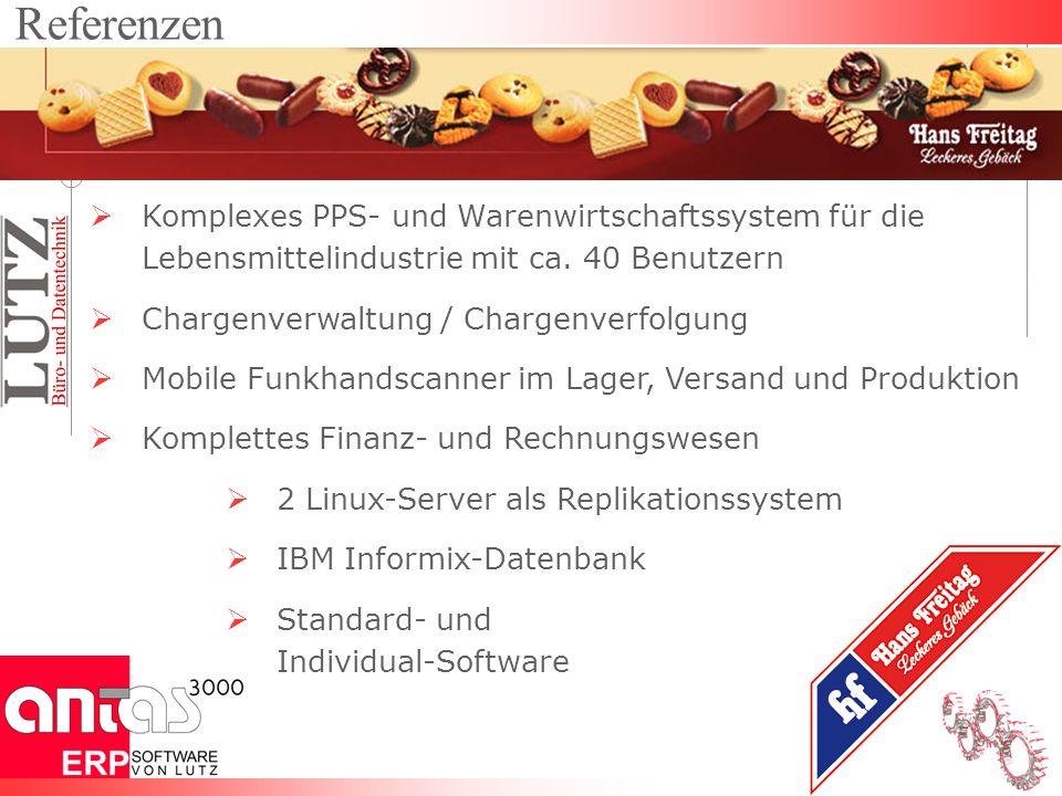 Komplexes PPS- und Warenwirtschaftssystem für die Lebensmittelindustrie mit ca. 40 Benutzern Chargenverwaltung / Chargenverfolgung Mobile Funkhandscan